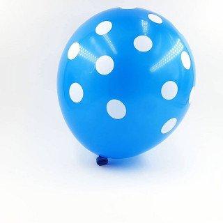 6 ballons bleu à pois 30 cm