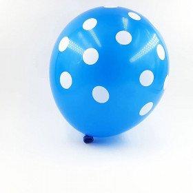 6 ballons bleus à pois 30 cm