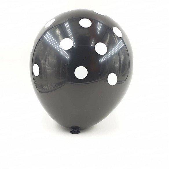 6 ballons noir à pois 30 cm