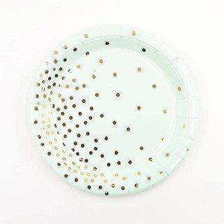 10 petites assiettes rondes vert d'eau pois or