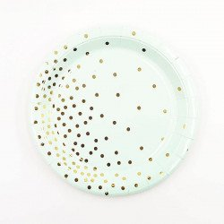 10 assiettes ronde vert d'eau points or