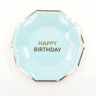10 petites assiettes anniversaire bleue aqua