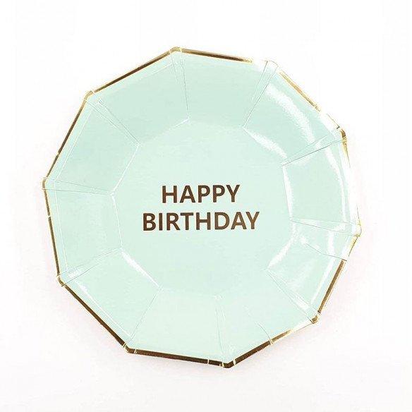 10 petites assiettes anniversaire vert d'eau
