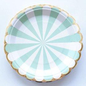 10 petites assiettes ronde  rayée vert d'eau
