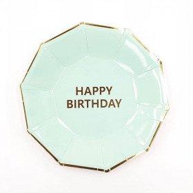 10 Assiettes anniversaire vert d'eau