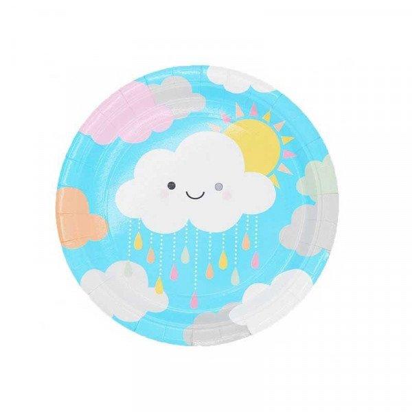 10 Petites assiettes nuage en carton