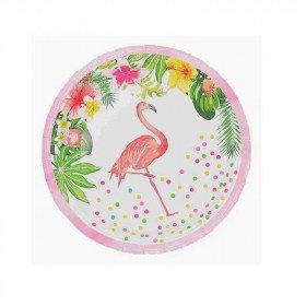 Petites assiettes en carton flamant rose