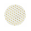 10 petites assiettes rondes blanches à pois or