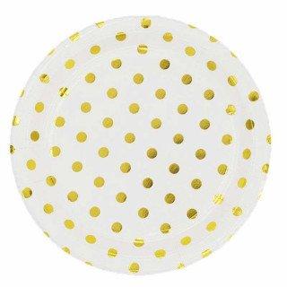 10 assiettes blanche à pois or