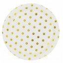 10 assiettes blanches à pois or