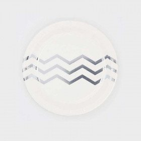 10 petites assiettes blanches chevron argent