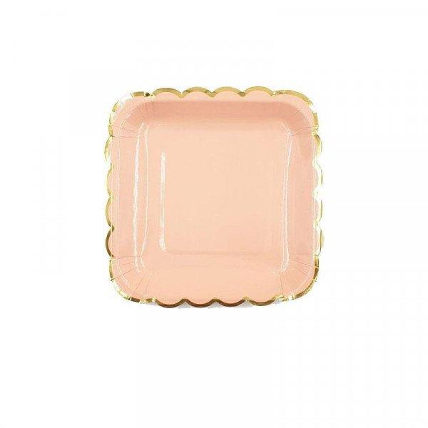 10 petites assiettes carrée pêche bord doré