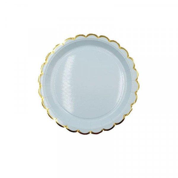 10 petites assiettes ronde bleue bord doré