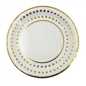 10 assiettes blanches bord pois or