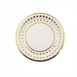 10 petites assiettes blanches bord pois or