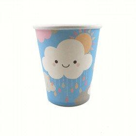 10 gobelets nuage fond bleu