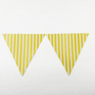 Guirlande de fanions jaune à rayures (2m)