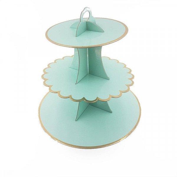 Support cupcake 3 étages vert d'eau