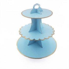 Support cupcake 3 étages bleu pastel