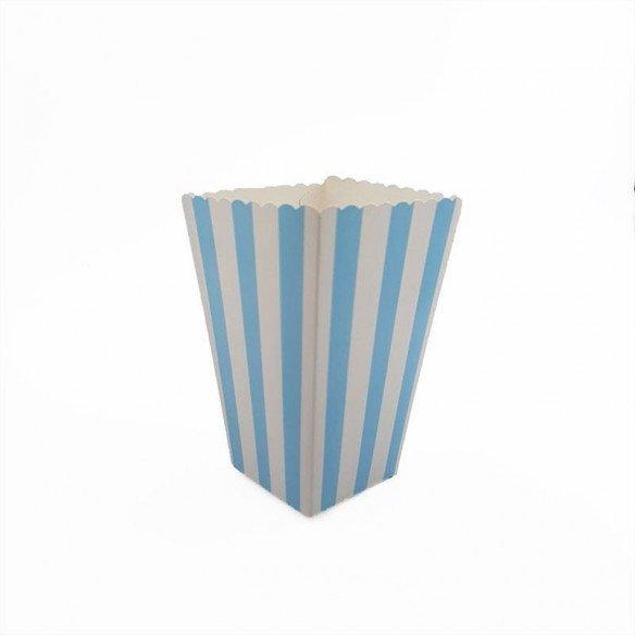 Boite pop corn à rayures bleu clair x6