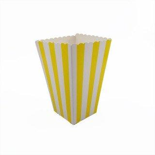 Boite pop corn à rayures jaune x6