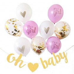 Kit guirlande et ballons baby shower fille