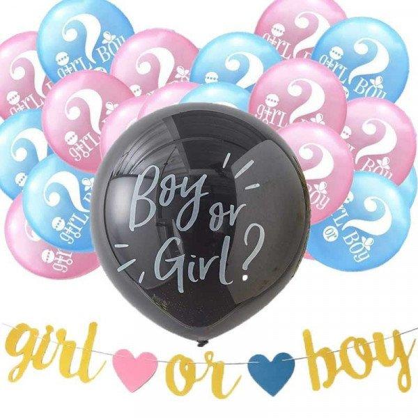 kit ballon baby shower surprise fille ou garcon et guirlande