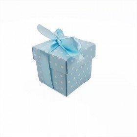 50 boites cube cartonnées bleu à pois + ruban