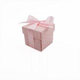 50 Boites cube rose à pois + ruban
