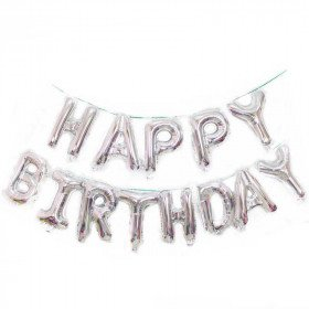 Ballon happy birthday argent