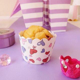 Caissette a cupcake motif coeur, lot de 24