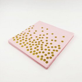 Serviette papier rose et pois or x20