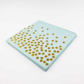 Serviette papier bleu et pois or x20
