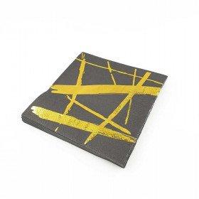 Serviette papier noir motif or x20