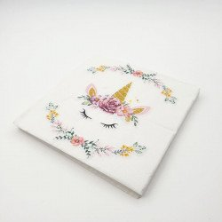 Serviette papier Licorne rose x20