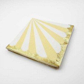 Serviette papier rayures jaune bord or x20