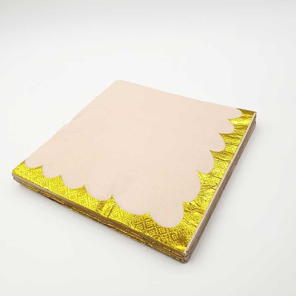 Serviette papier uni peche bord doré x20