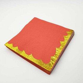 Serviette papier uni rouge bord doré x20