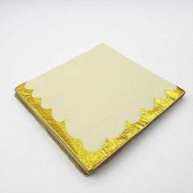 Serviette papier uni jaune bord doré x20