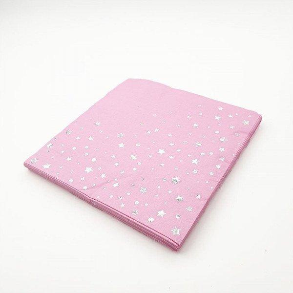 Serviette papier rose avec etoile argent x20