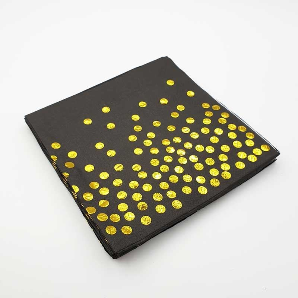 Serviette papier noir et pois or x20