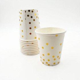 Gobelet blanc points or X10