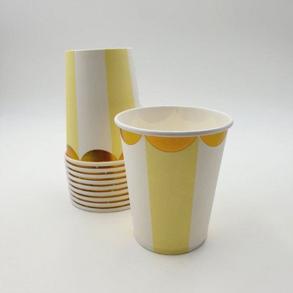 Gobelet jaune à rayures bord or X10