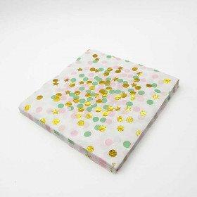 Serviette papier à pois vert et rose et etoile or