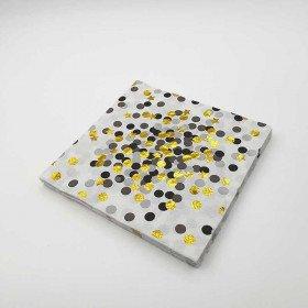 Serviette papier à pois noir/gris et étoiles or x20