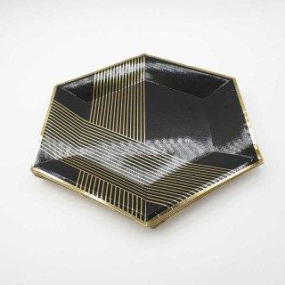 10 assiettes polygone noir rayée or 23 cm