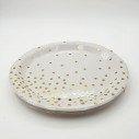 10 assiettes rondes blanche points or 23cm