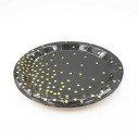 10 assiettes rondes noire pois or 23cm
