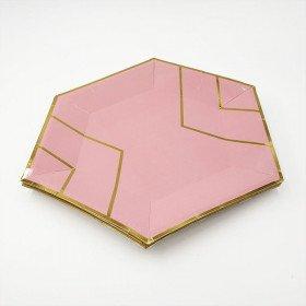 10 assiettes polygone rose et or 23 cm