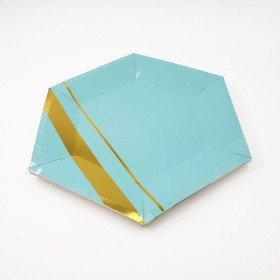 10 assiettes polygone bleu et or 23 cm